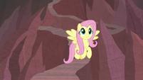 Fluttershy flying down a rocky path S9E9