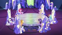 Main cast at their thrones; Rarity walking S5E19