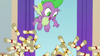 Spike watches the pile of scrolls collapse S8E15