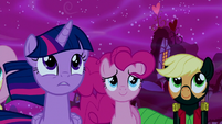 Twilight, Pinkie, and Applejack supporting Luna S5E13