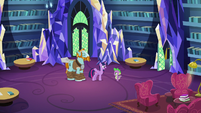 Twilight, Spike, and Rockhoof in library S8E21