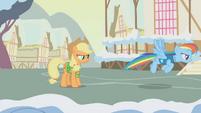 Applejack tells Rainbow Dash to melt the snow S1E11