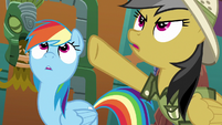 Daring Do pointing her hoof upward S6E13