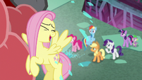 Fluttershy getting licked by Cerberus S8E25