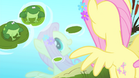 Fluttershy sees her reflection in the water S4E14