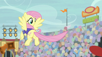 Fluttershy tosses buckball with her tail S9E6