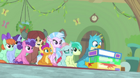 Friendship students look up at Fluttershy MLPS3