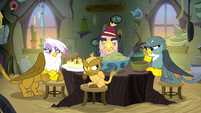 Griffons bitterly gathered at the table S8E16