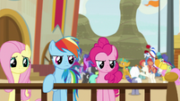 Main ponies observe other buckball team S9E6