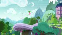 Pinkie Pie descends toward the ground S8E7