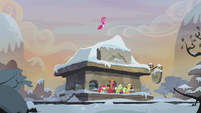 Pinkie Pie jumping on train station roof S5E20