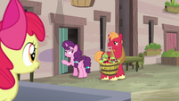 Sugar Belle inviting Big Mac into her house S7E8