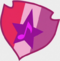 Star and musical note on a red, pink, and purple shield