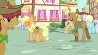 Trenderhoof and Applejack walking S4E13