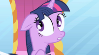 Twilight trying to talk while Rarity tightens her corset S1E01