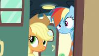 Applejack and Rainbow open the train car door S6E18