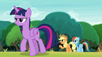Applejack calling out to angered Twilight S8E9