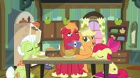 Applejack giving pancakes to Big Mac S9E10