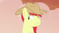 Bright Mac smirking coyly at Pear Butter S7E13
