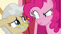 Pinkie glares disapprovingly at Mayor Mare S5E19
