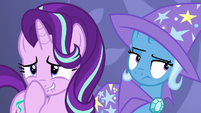 Starlight giggling; Trixie unamused by Discord's antics S7E1