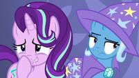 Starlight giggling; Trixie unamused by Discord's antics S7E1