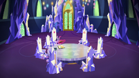 Twilight Sparkle in the Castle of Friendship throne room S7E11