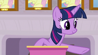 Twilight Sparkle pointing at Spike S8E9