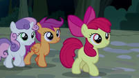 Cutie Mark Crusaders listen to Trouble Shoes S5E6