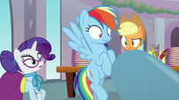 Rarity, Dash, and AJ look at Pinkie's cannon S8E1