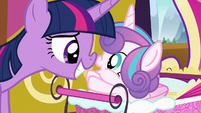 Twilight and Flurry Heart boop noses S7E3