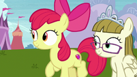 Apple Bloom and Zipporwhill watching Scootaloo S7E6