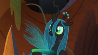 Chrysalis looks behind at Tirek and Cozy Glow S9E1