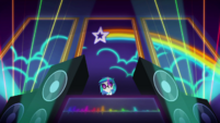 DJ Pon-3 projects a rainbow behind her CYOE12