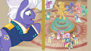 Flim, Flam, and performers look up at Gladmane S6E20.png