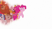 Pinkie Pie hopping across a white screen S9E26