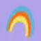 Blue, orange, and yellow-striped rainbow
