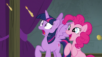 Twilight and Pinkie look at flaming marshmallow S8E7