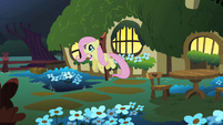 Fluttershy flies out of her cottage to look for the CMC S1E17
