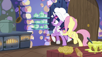 Fluttershy pushing Twilight out of the kitchen S7E20