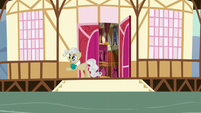 Mayor Mare waving to the Mane Six S5E19