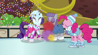 Party cannon fired at an ice rink S6E3