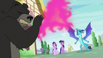 Princess Ember roaring and breathing fire S7E15