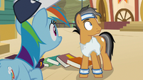 Rainbow and Quibble hear cheering S9E6