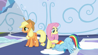 Rainbow puts her hooves on her face; Fluttershy pats her on her mane S6E2