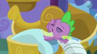 Spike groaning as he awakens S8E21