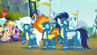 Wonderbolts looking up at the sky S6E7
