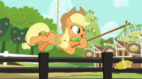 Applejack hanging from the rope again S6E10