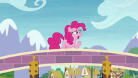 Pinkie Pie crying on top of the bridge S8E3