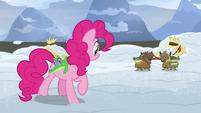 Pinkie Pie listening to two yak kids S7E11